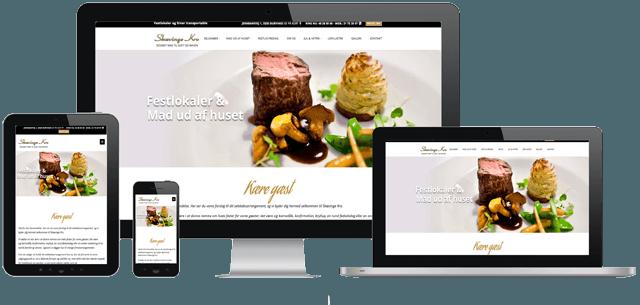 Billede af desktop,tablet og smartphone som viser skævingekro´s nye hjemmeside