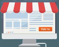 en computer skærm forklædt som en butik der illustrerer en ny webshop