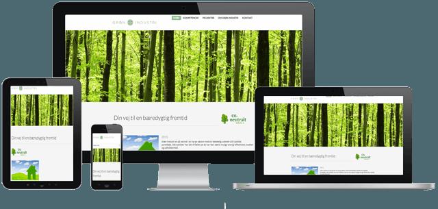 Billede af desktop,tablet og smartphone som viser groen industries nye responsive hjemmeside