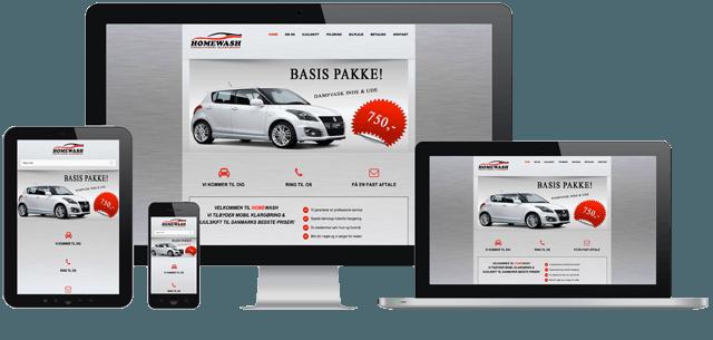 Billede af desktop,tablet og smartphone som viser Homewash´s nye responsive hjemmeside