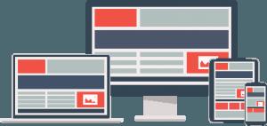 billede af en computer, smartphone og tablet som viser at man kan få lavet en hjemmeside og webshop i responsive web design