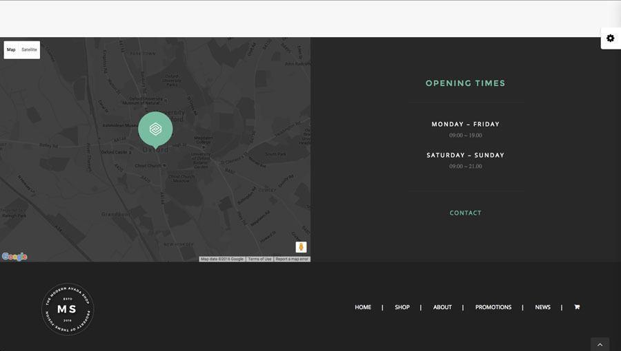 google map og aabningstider på billedet af webshop eksempel 3 - google maps