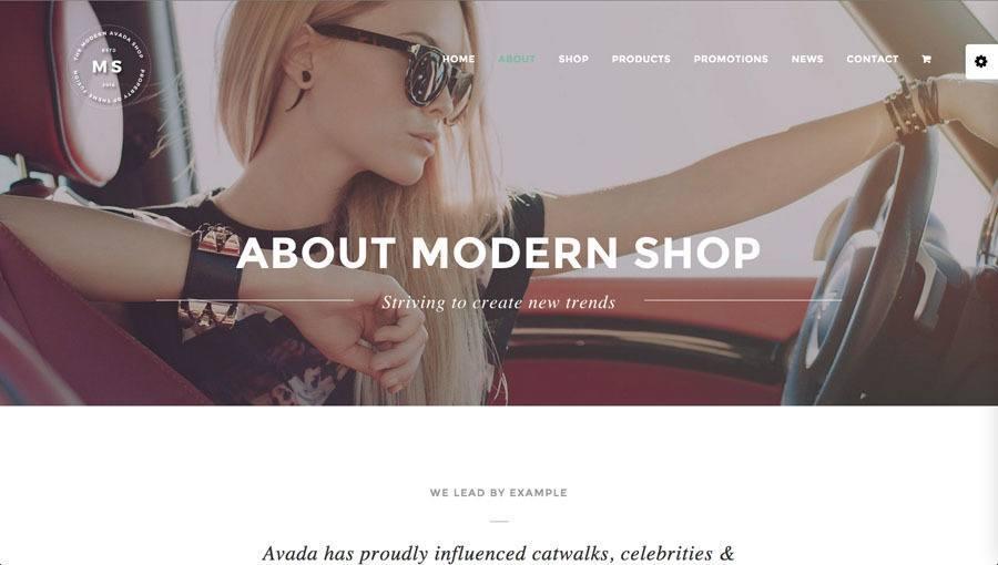 flot sej pige i bil og moderne tøj på billedet af webshop eksempel 3 - moderne shop
