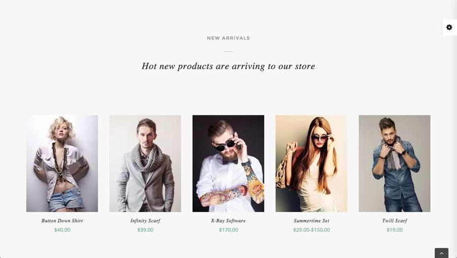 5 flotte unge mennesker i moderne tøj og solbriller på billedet af webshop eksempel 3 - nye produkter