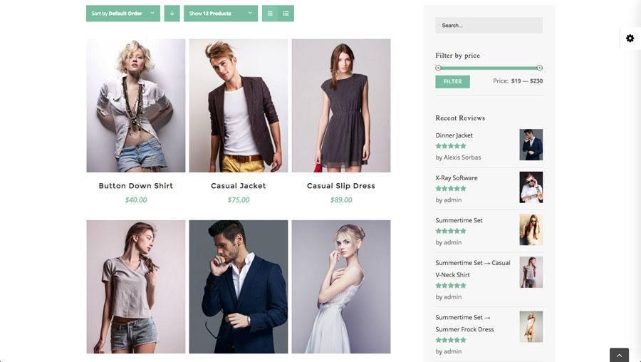 6 flotte unge mennesker i moderne tø i en webshopj på billedet af webshop eksempel 3 - produkt filtrering