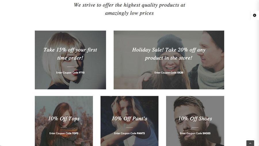 flotte unge mennesker i moderne tøj på billedet af webshop eksempel 3 - tilbud