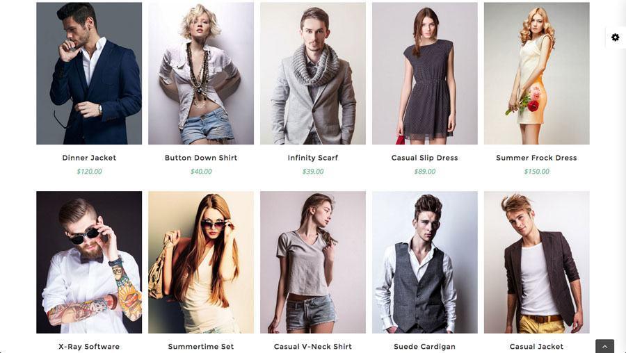 flotte unge mennesker i moderne tøj på billedet af webshop eksempel 3 - udvalgte produkter