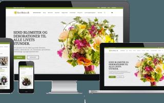 blomster webshop illustreret på smartphone, desktop og computer