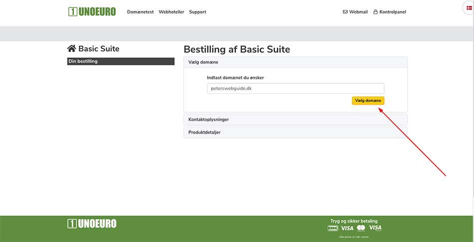 Webhotel bestilling