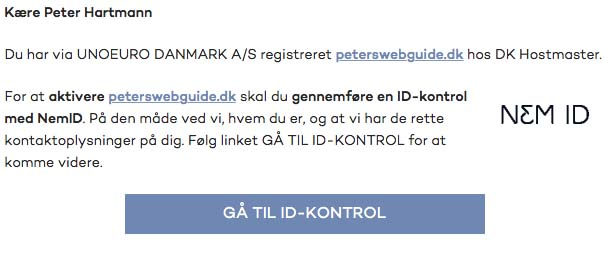 Email angående ID kontrol