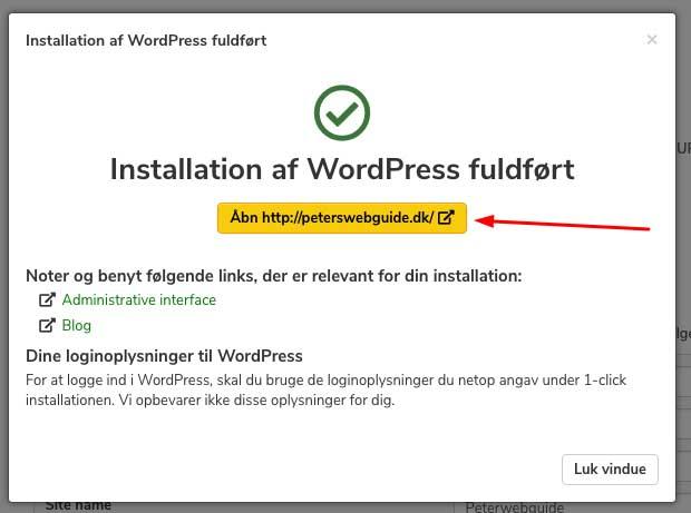 Installationen af WordPress er gennemført