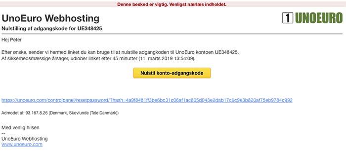 Email med nulstil adgangskode