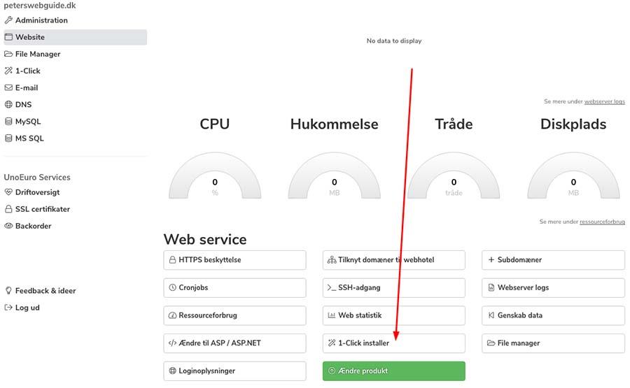 Installer WordPress med 1-Click installer