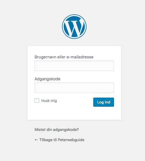 Billedet viser login vinduet til WordPress