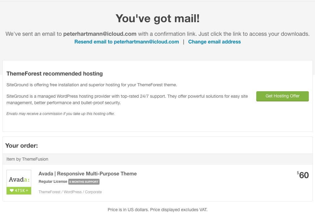 besked fra Envato: Du har fået en email