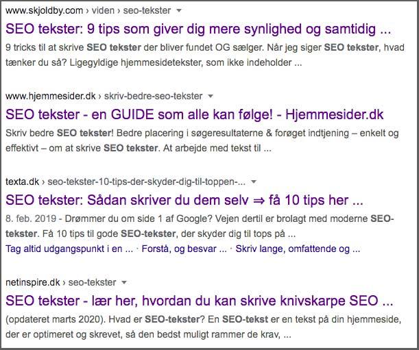 Googles søgeresultater når man søger på SEO tekster