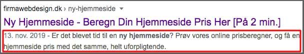 Metabeskrivelse vist fra Googles søgeresultat