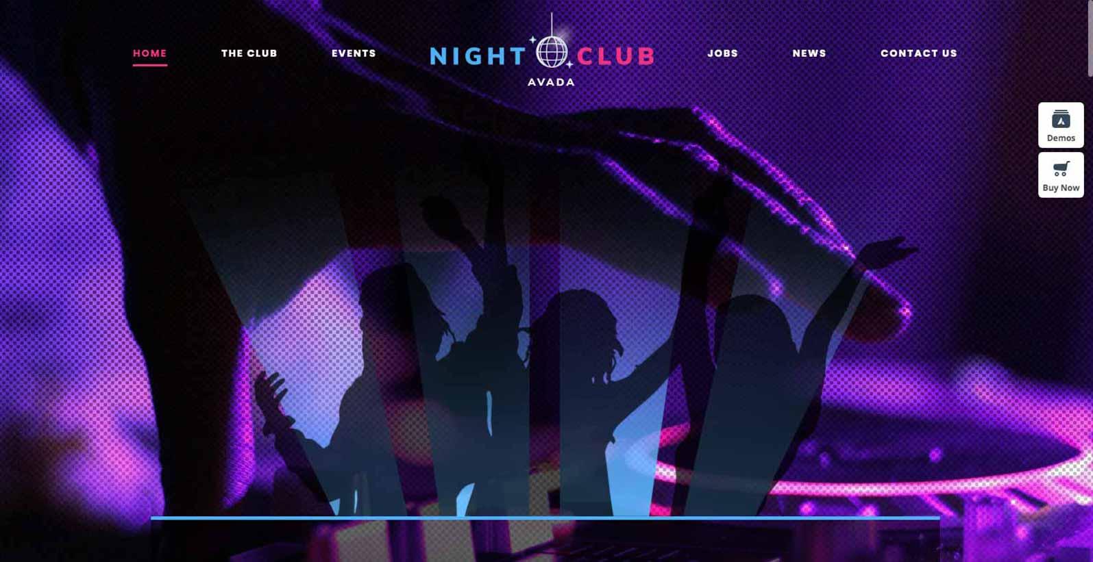 Hjemmeside skabelon til en nat klub