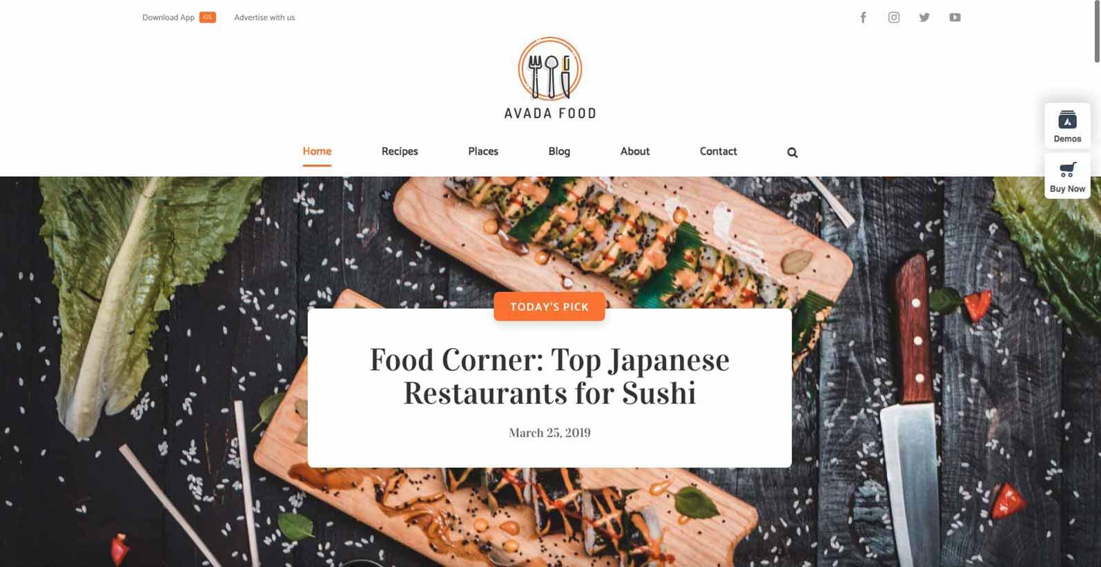 Hjemmeside skabelon til en mad blogger