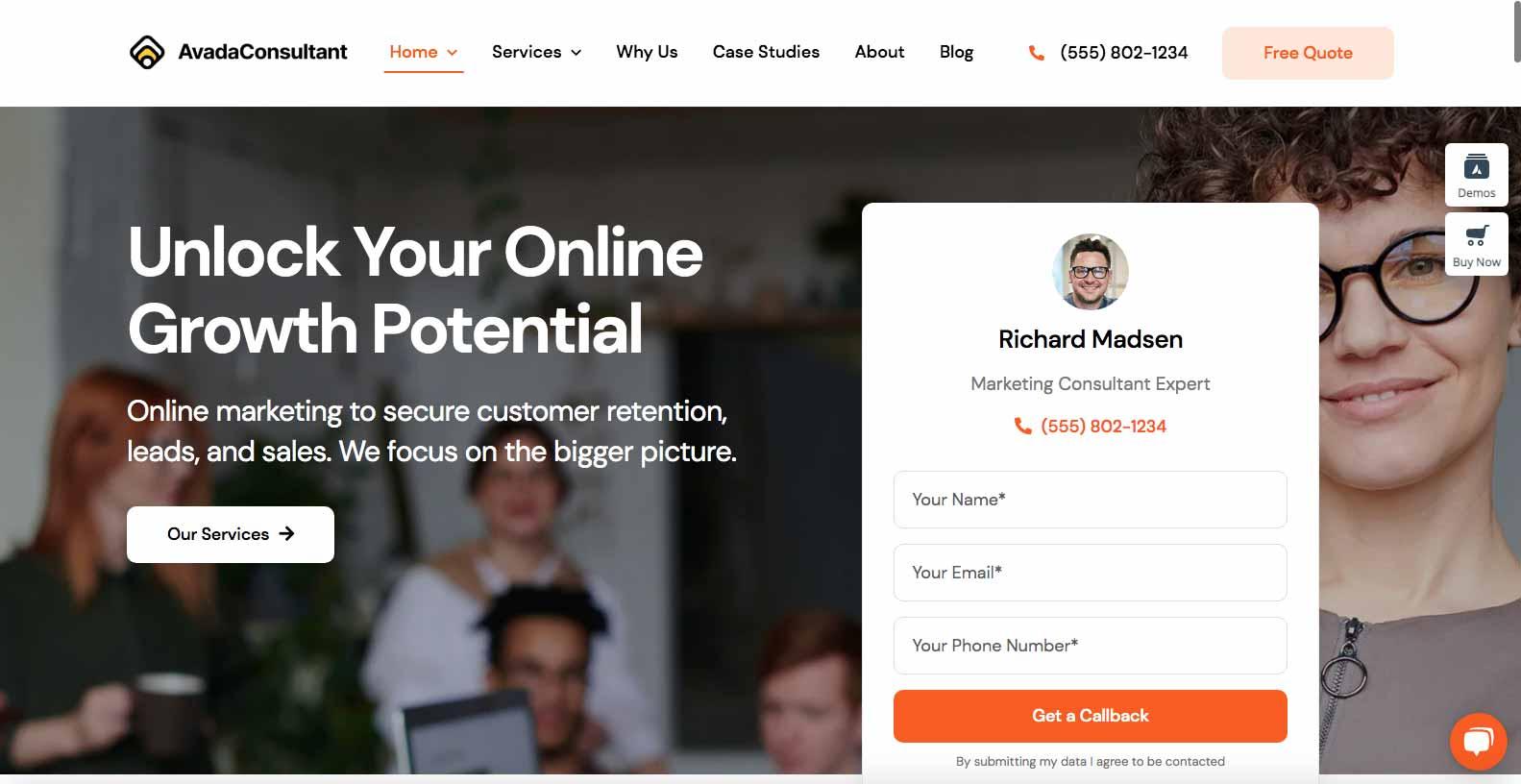 Hjemmeside skabelon til en konsulent