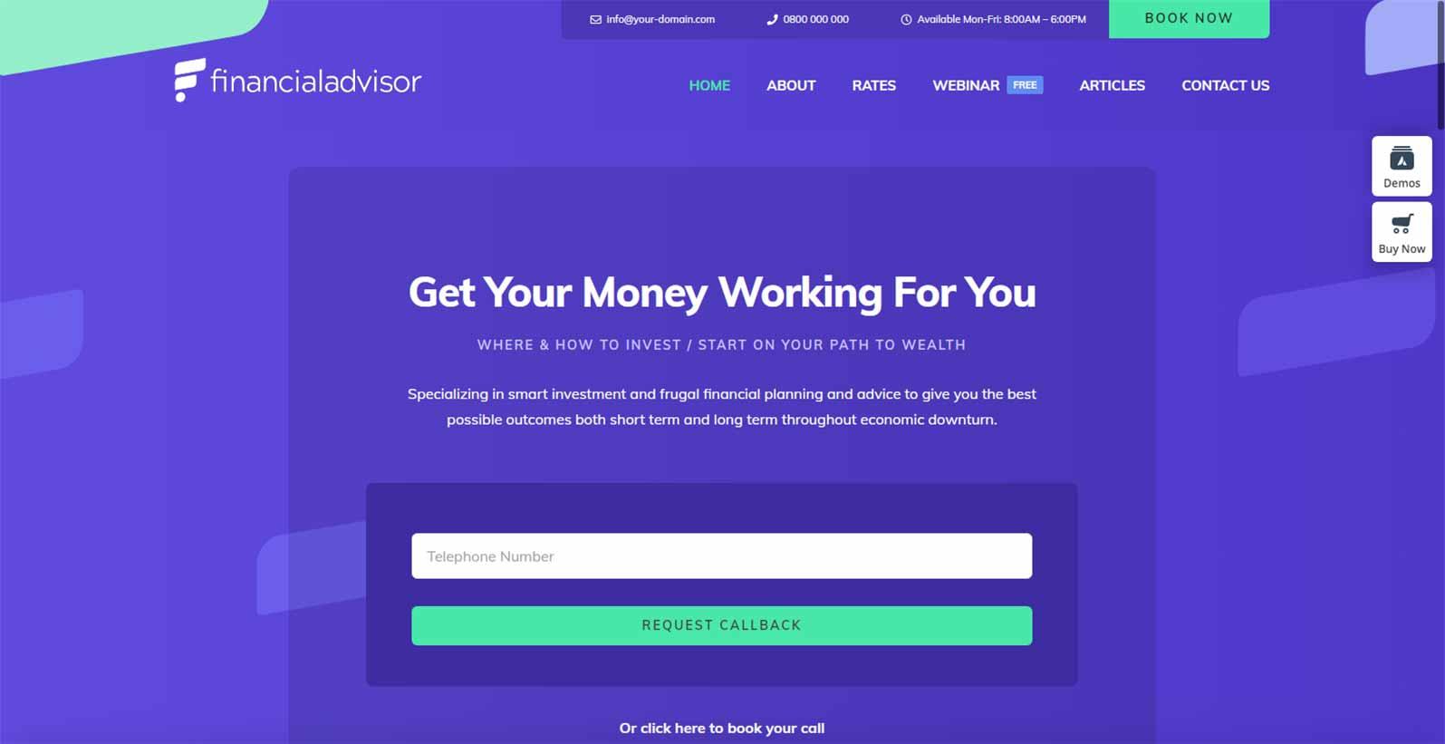 Hjemmeside skabelon til en finans rådgiver