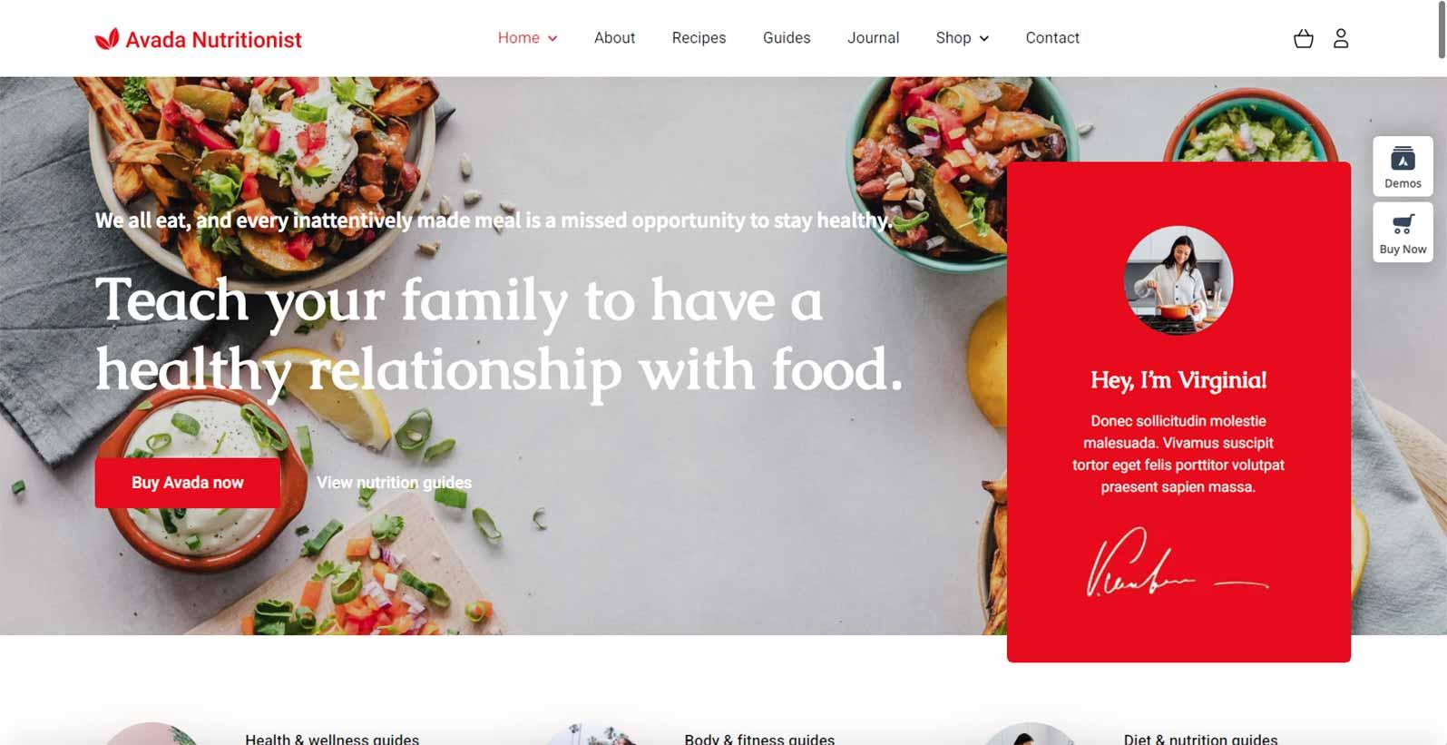 Hjemmeside skabelon til en kostvejleder