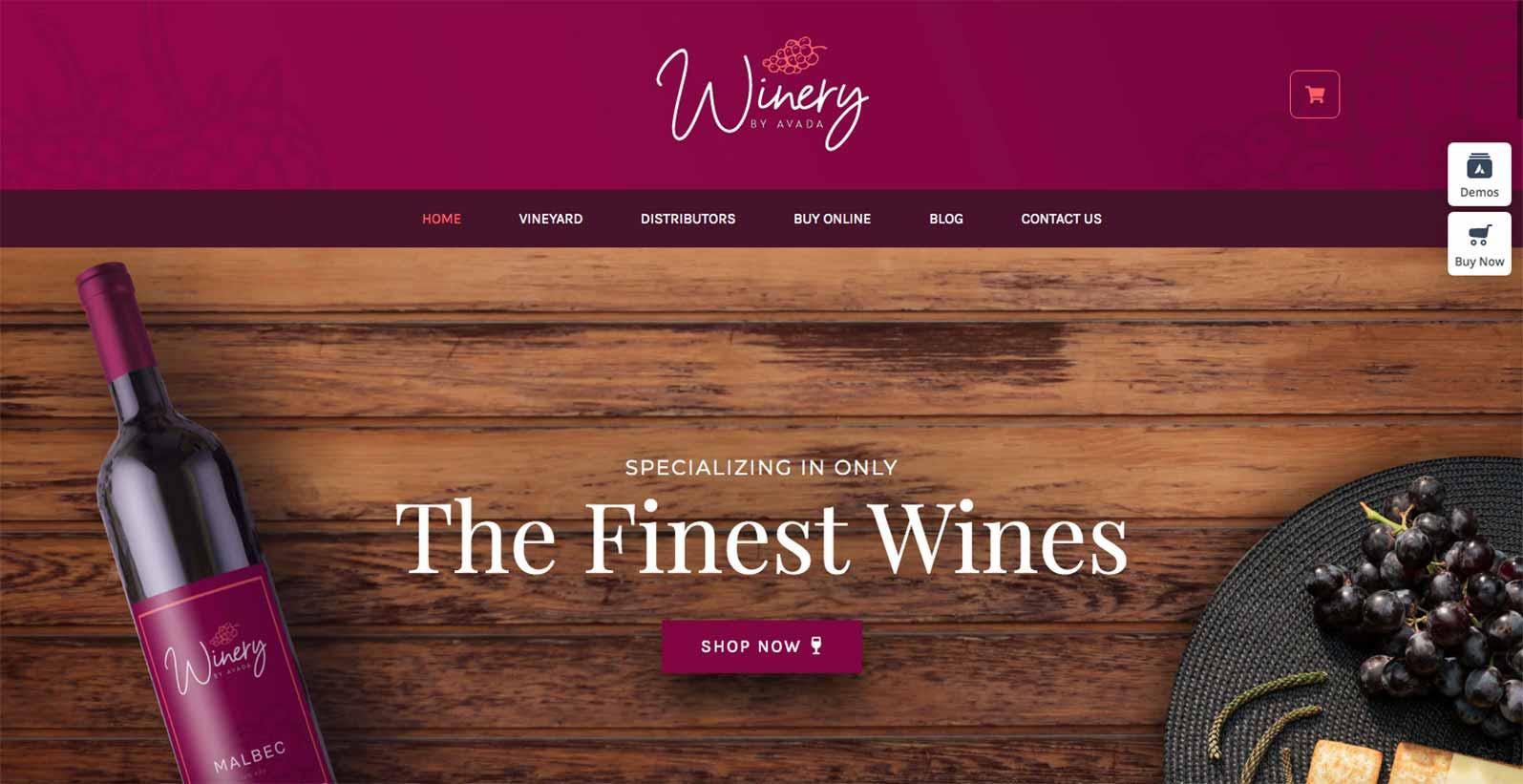 Hjemmeside skabelon til en vin forhandler